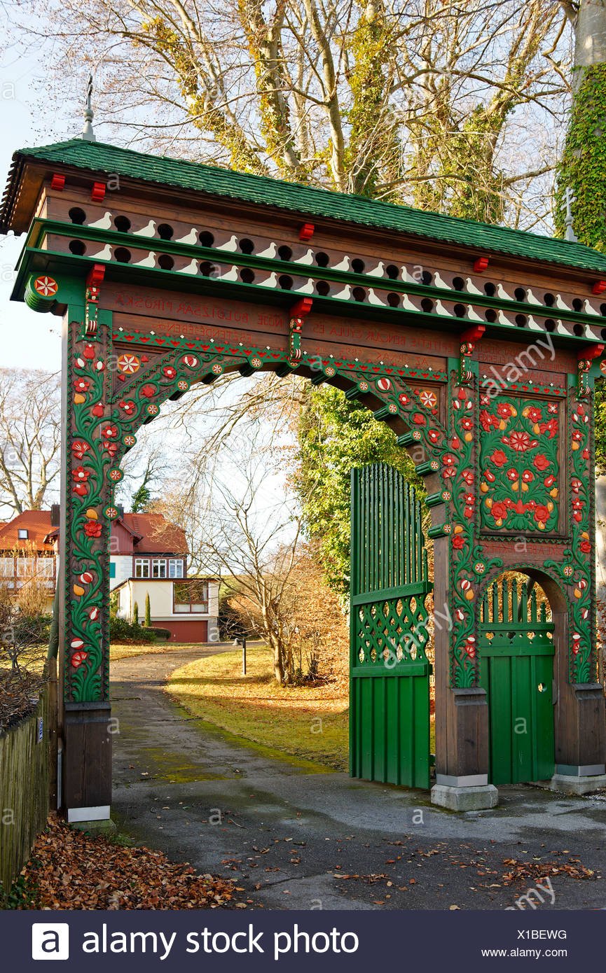 Hungarian Gate, house of the Waldemar Bonsel Foundation in Ambach, on Lake Starnberg, Five Lakes region, Upper Bavaria, Bavaria - Stock Image