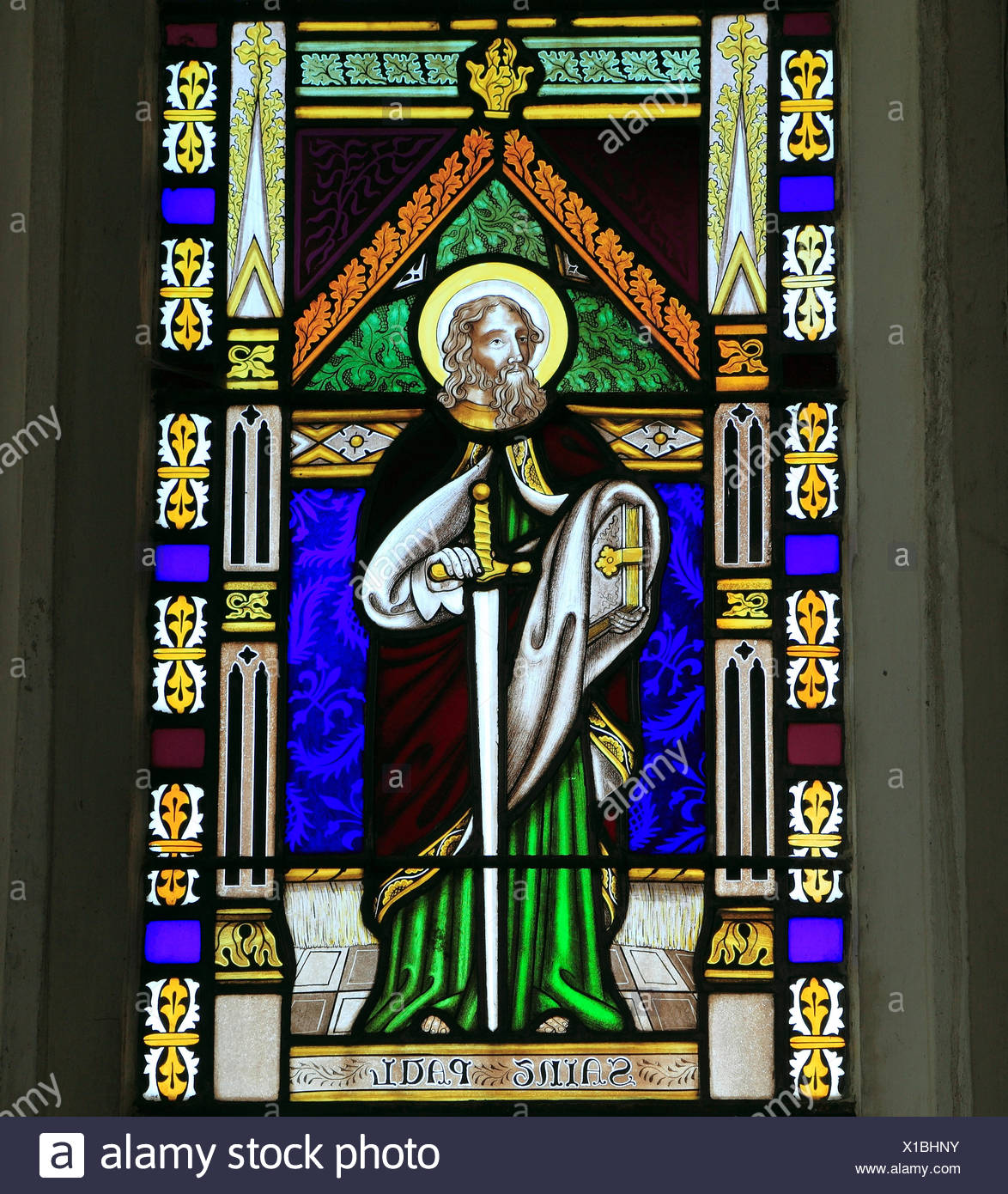 St. Paul, stained glass window by Joseph Grant of Costessey, 1856, Wighton, Norfolk, England UK, saint, saints - Stock Image