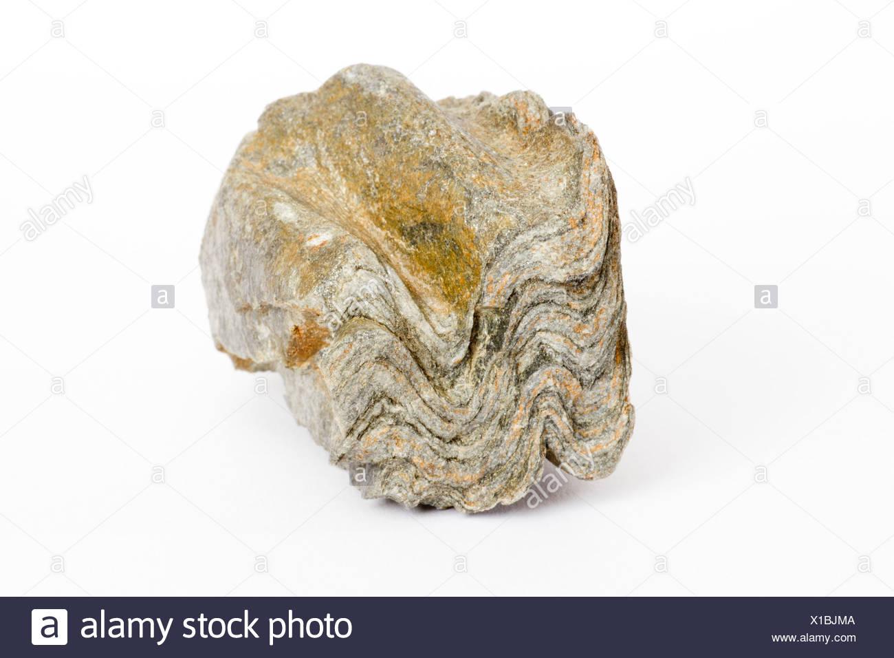 Stone, rock, folds, pattern, sample, structure, Geology, rock folds - Stock Image