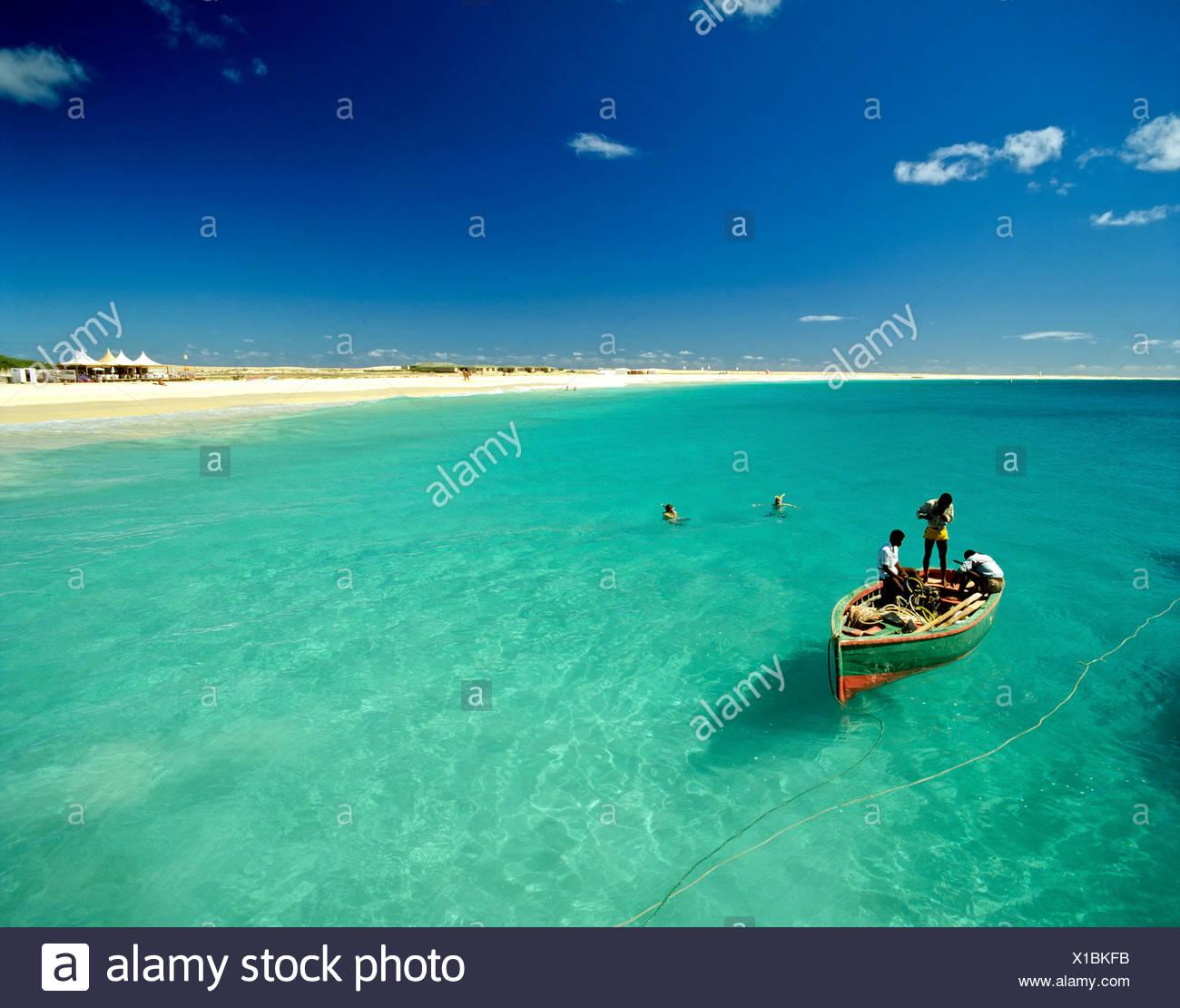 Fishing boat off the coast of Sal Island, Cape Verde, Atlantic Ocean Stock Photo