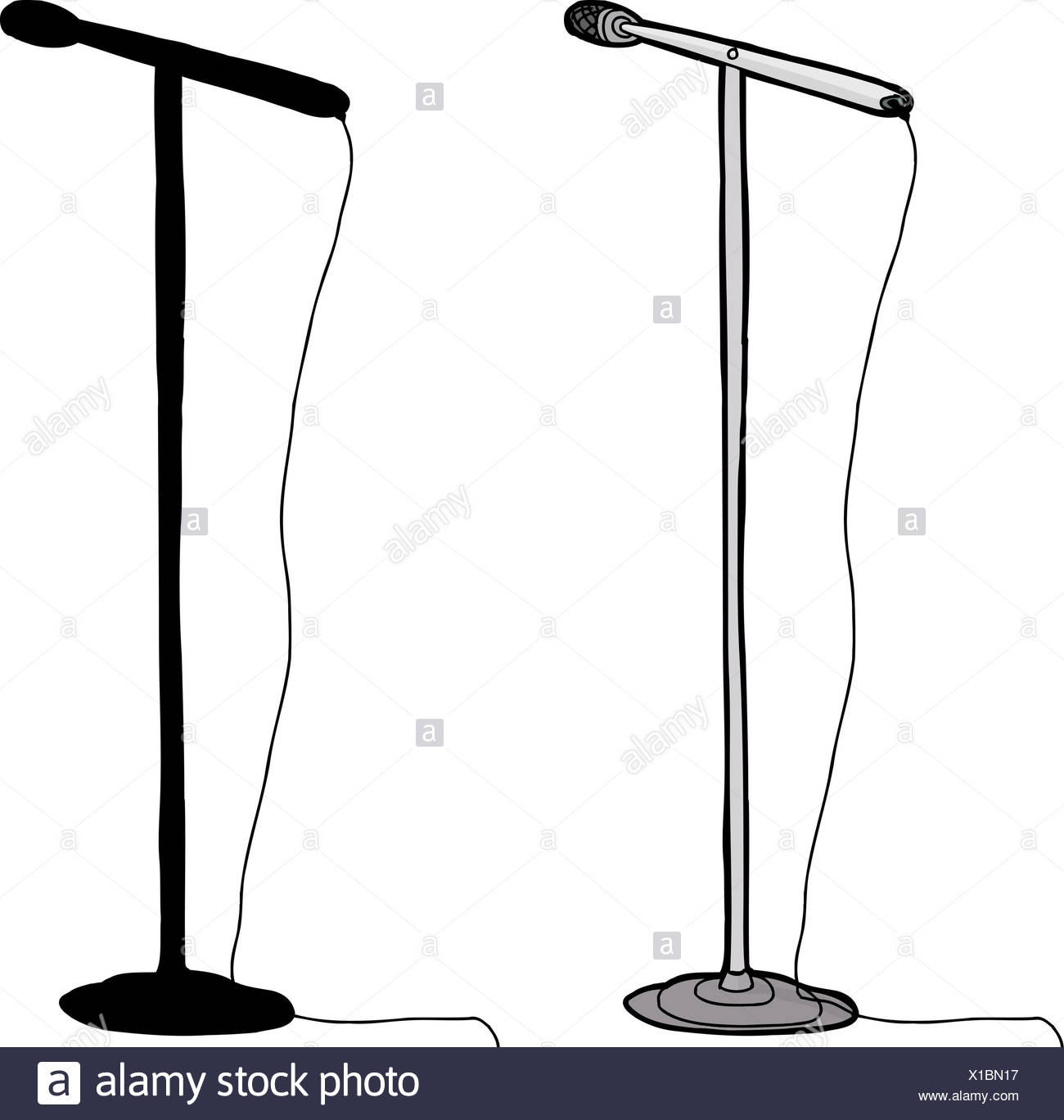 Cartoon and silhouette microphone stand over white ...