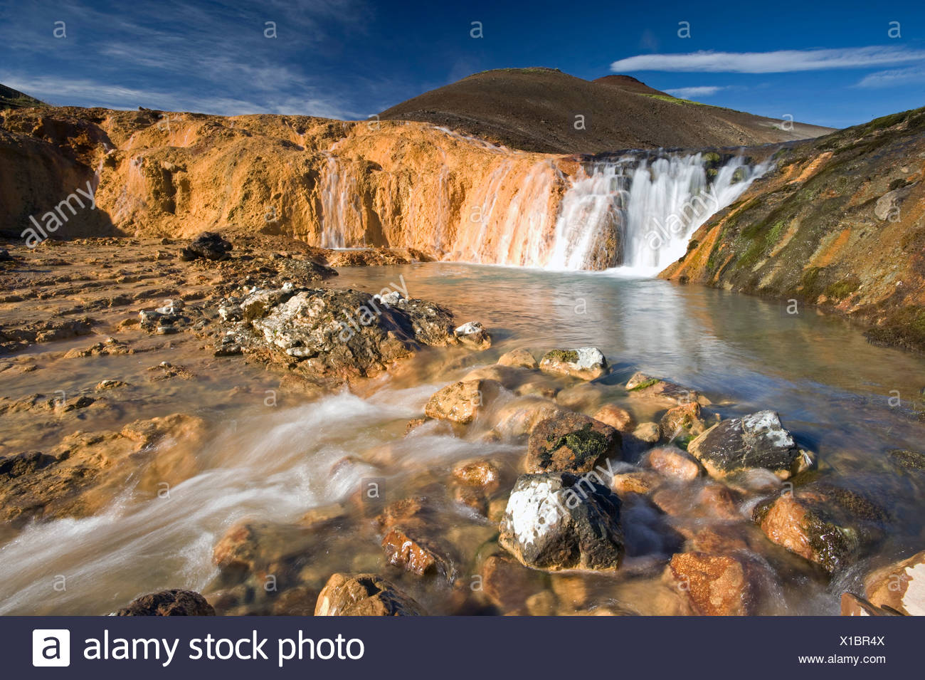 Bicolored waterfall near Hauhverir, Fjallabak Nature Reserve, Highlands of Iceland, Iceland, Europe Stock Photo