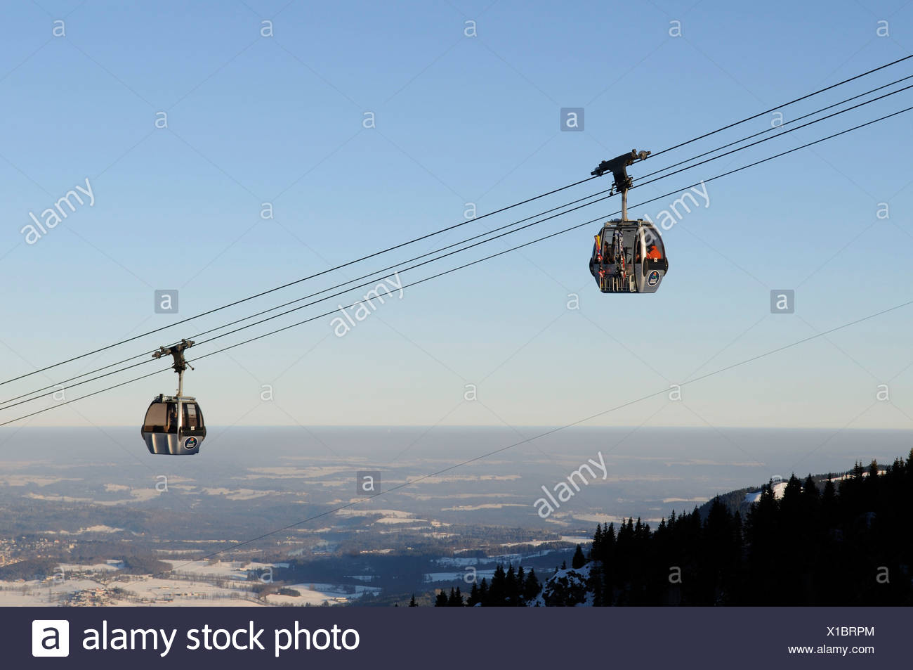 Brauneck cable car, Bayrische Alpen or Bavarian Alps, Bavaria, Germany, Europe - Stock Image