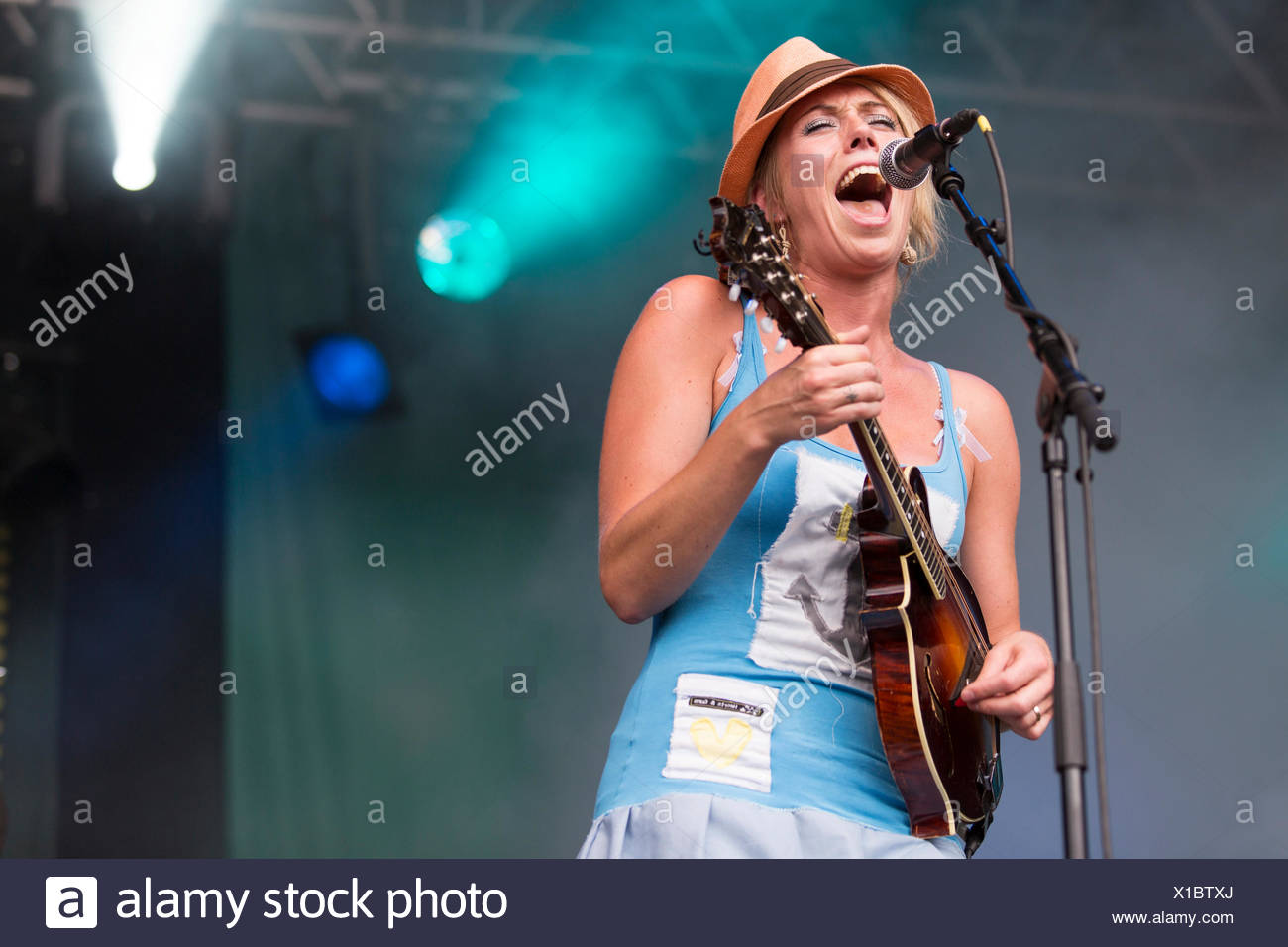 Turid Jørgensen with a mandolin from the Norwegian girl band Katzenjammer performing live at Heitere Open Air in Zofingen Stock Photo
