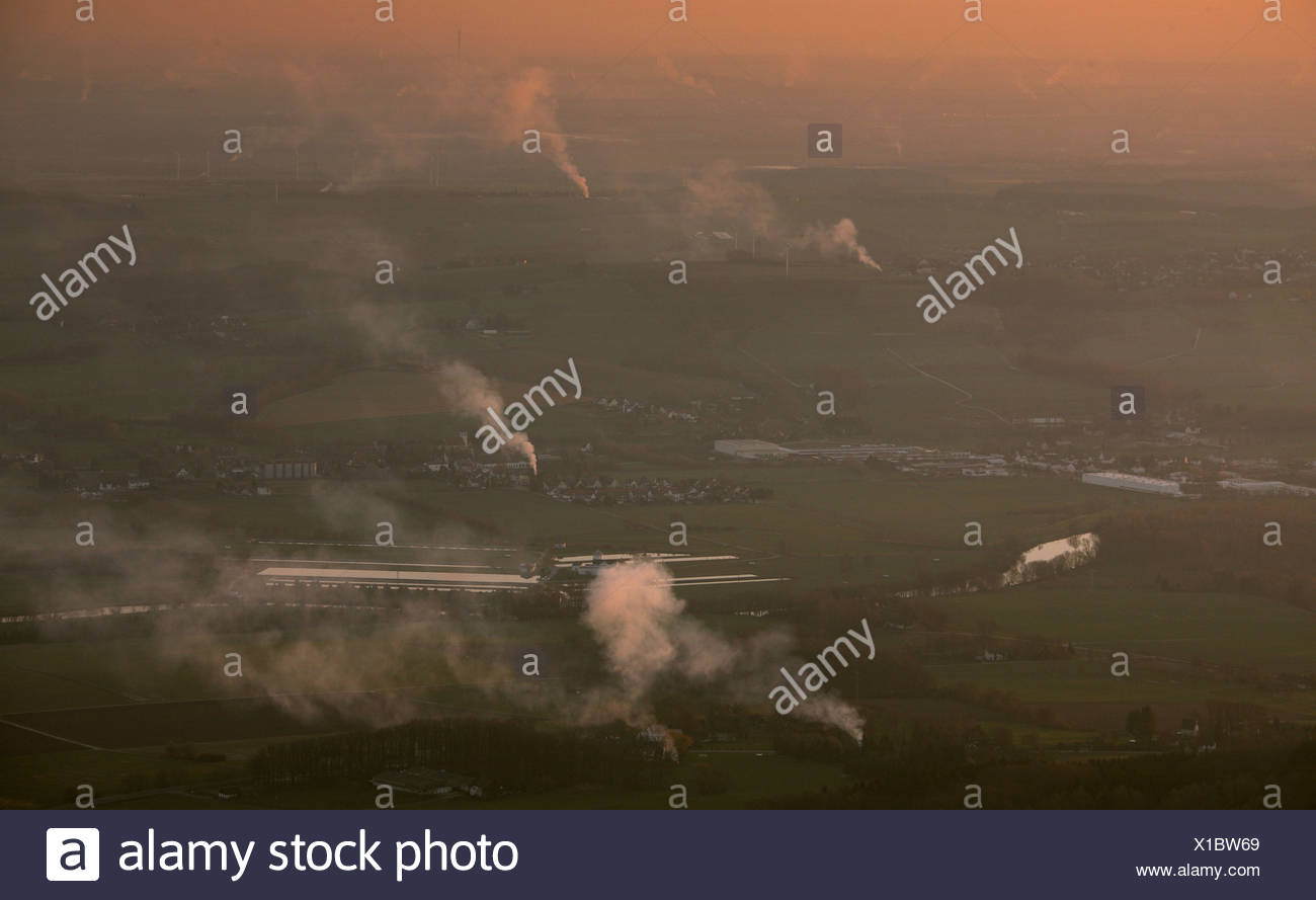 Aerial photograph, smoke plumes of the Easter fires above Froendenberg Warmen, Sauerland region, South Westphalia, North Rhine- - Stock Image