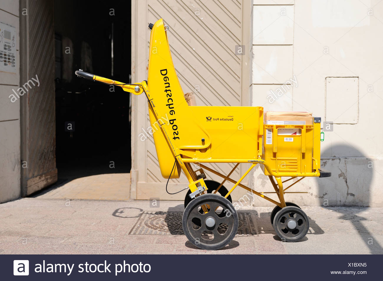 Trolley from the Deutsche Post, Germany, Europe - Stock Image