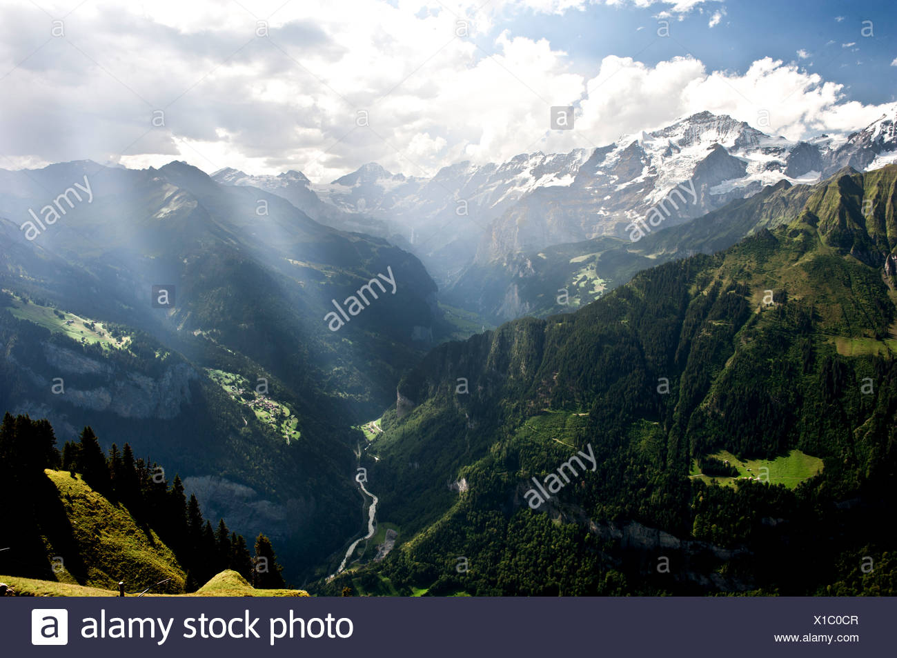 Alps, mountains, mountain scape, mountain scenery, Bernese Alps, High Alps, mountain chain, thunderstorm, autumn, fall, Jungfrau - Stock Image