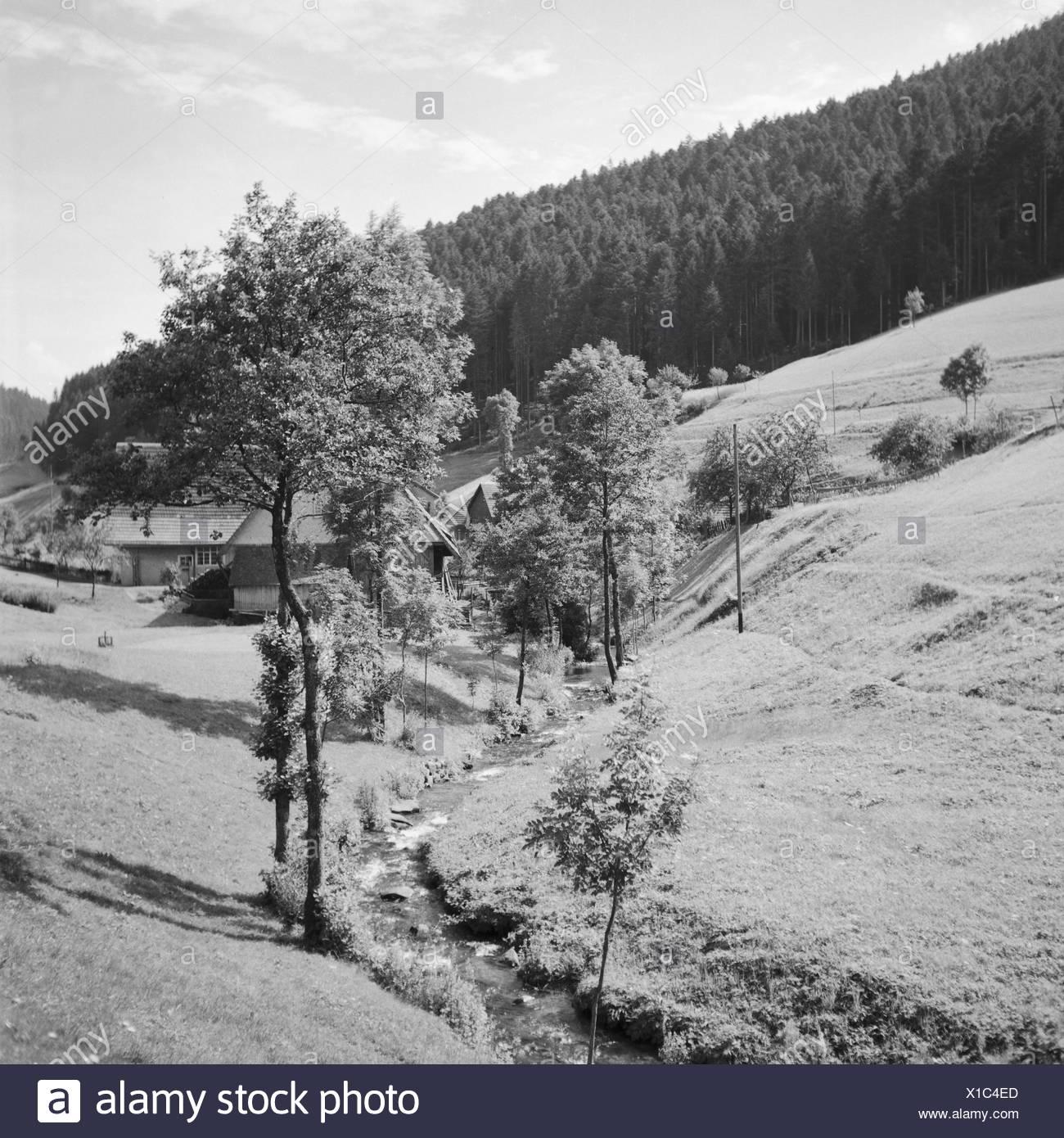 Blick auf die malerische Landschaft im Schwarzwald, Deutschland 1930er Jahre. View to the scenic Black Forest landscape, Germany 1930s. - Stock Image