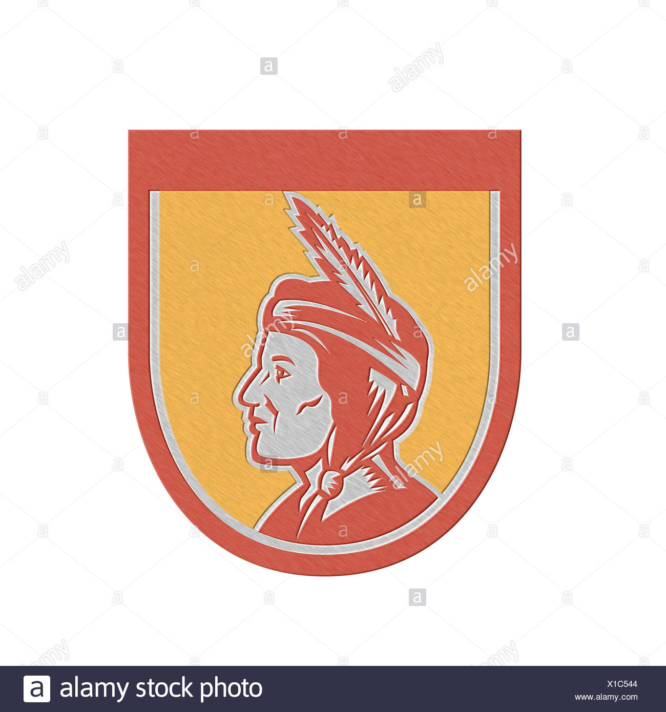 Metallic Native American Indian Chief Shield Retro - Stock Image