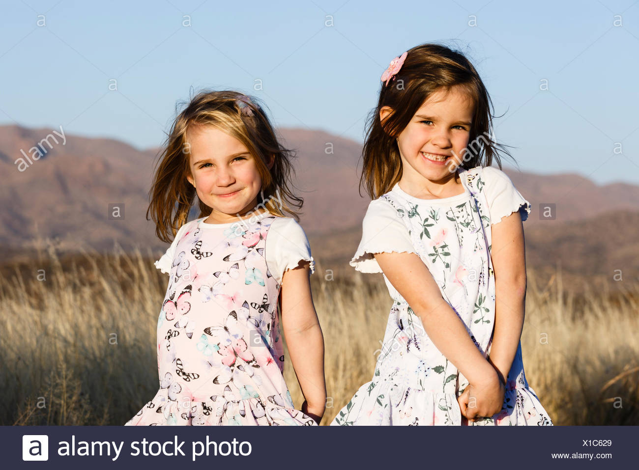 Two sisters, toddlers, Namibia - Stock Image