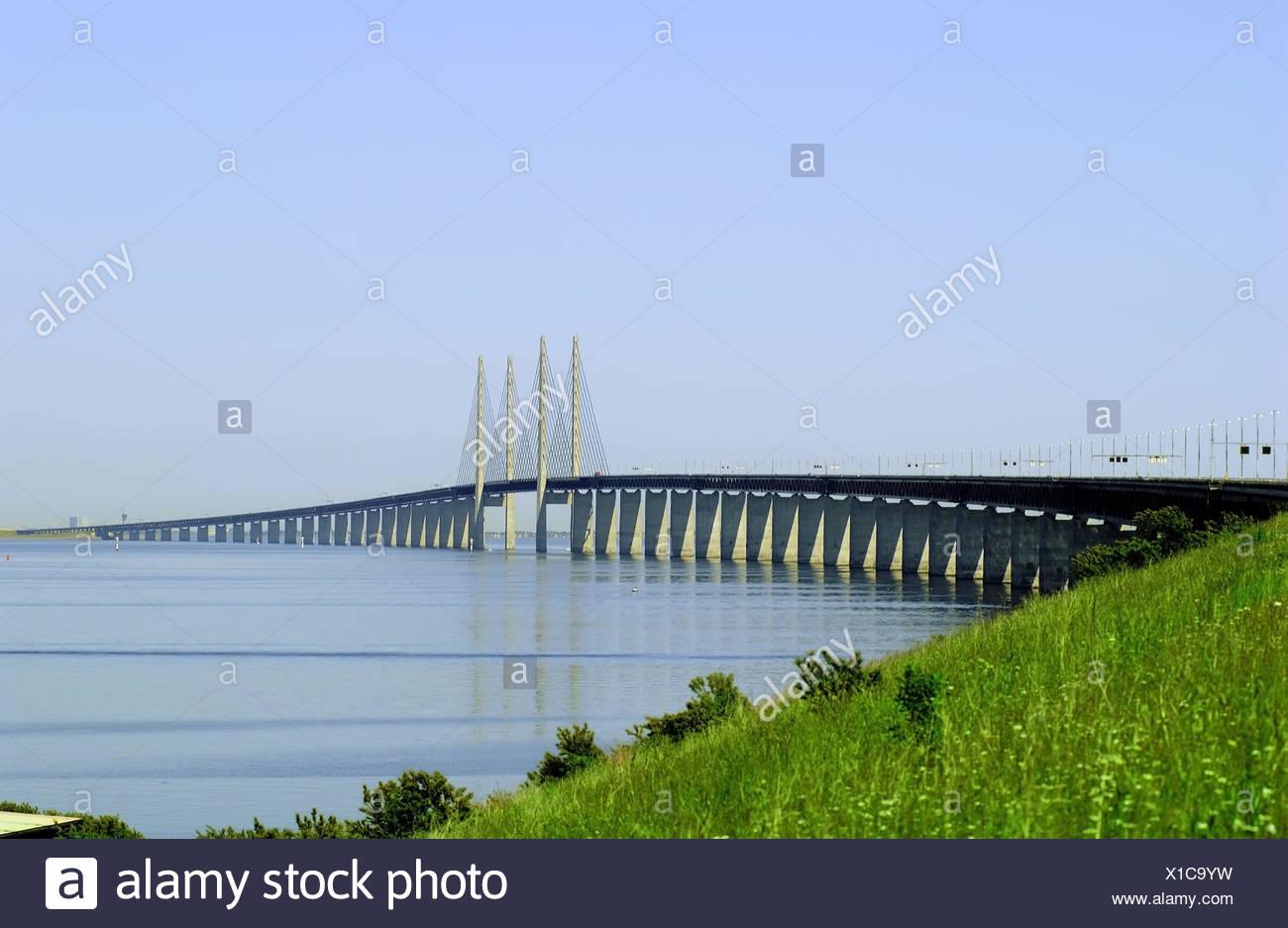 Sweden, Öresundbrücke, bridge, connection, Denmark, Swede, the Baltic Sea, the North Sea, bridge, suspension bridge, high-level bridge, Hängeseilbrücke, strait, Öresund, sound, Zealand, Malmö, bridge pier, concrete pillar, bridge construction, - Stock Image