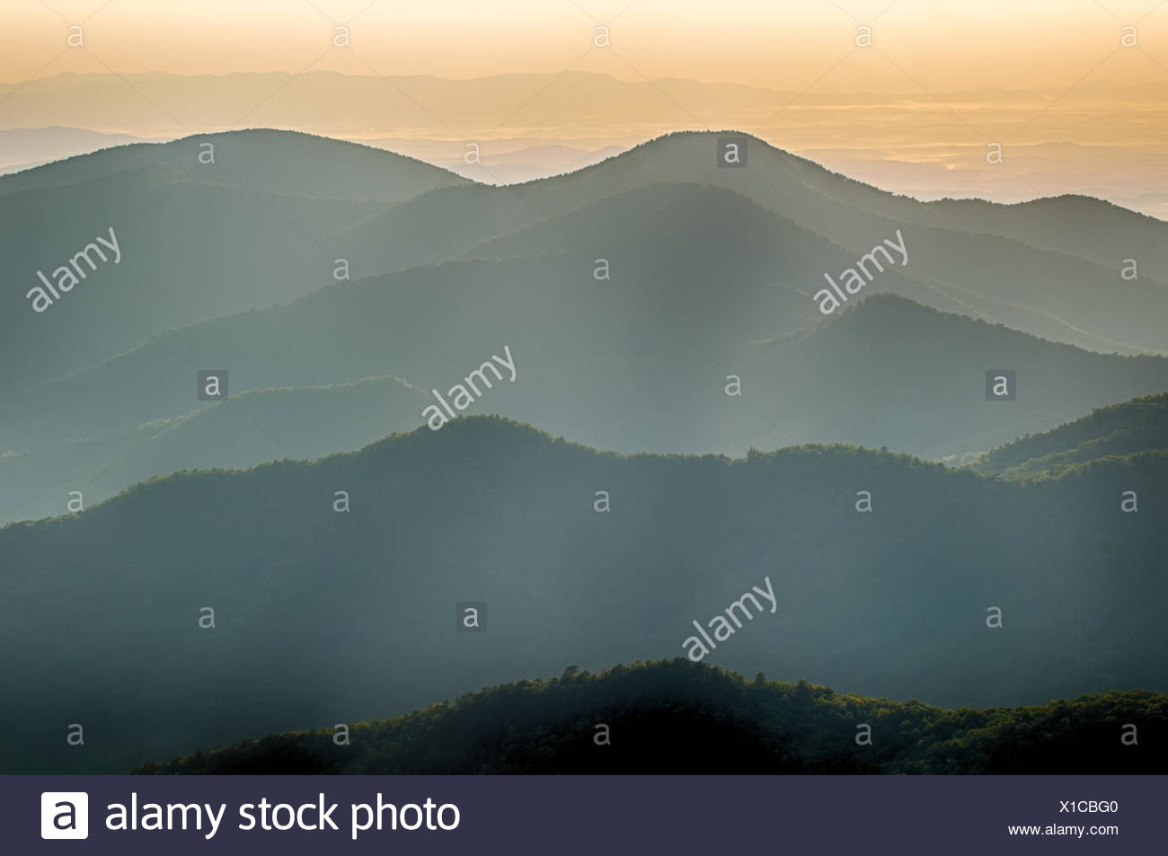 The simple layers of the Smokies at sunset - Smoky Mountain Nat. Park, USA. - Stock Image