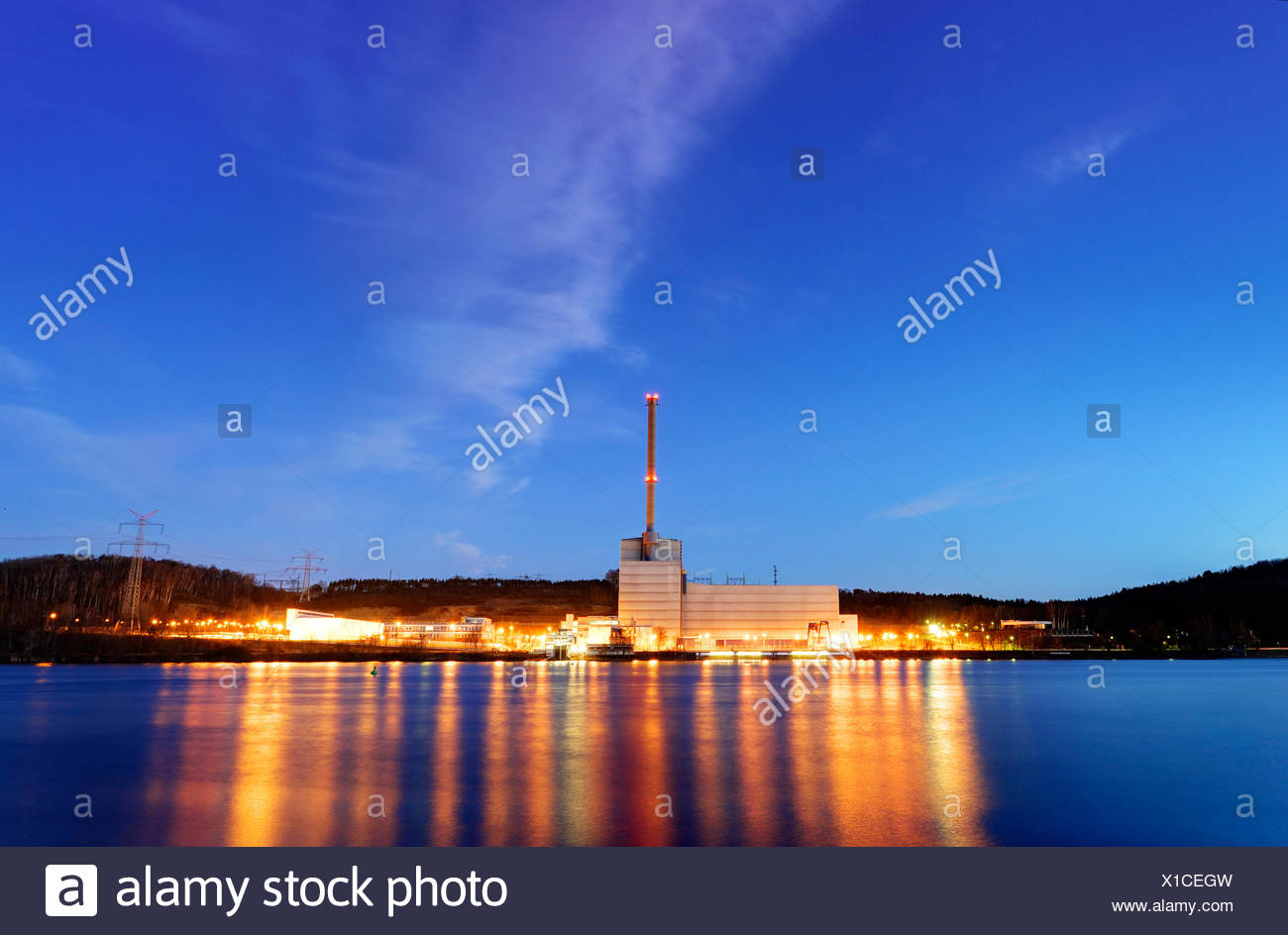 nuclear power station Kruemmel at sunset, Germany, Schleswig-Holstein - Stock Image