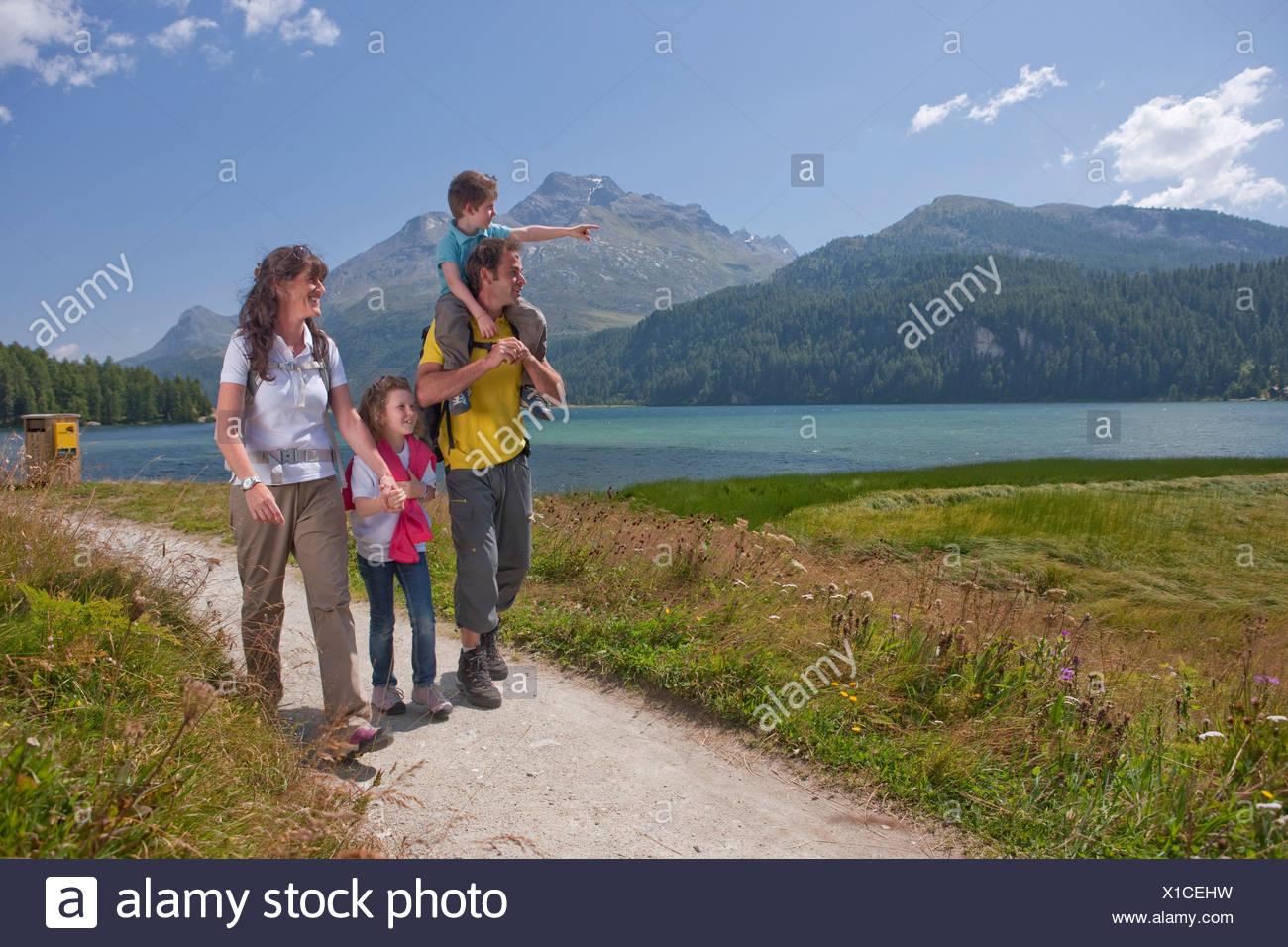 Canton, Graubünden, Grisons, Switzerland, Europe, Engadin, Engadine, Upper Engadine, nature, family, lake, summer sport, footpat Stock Photo