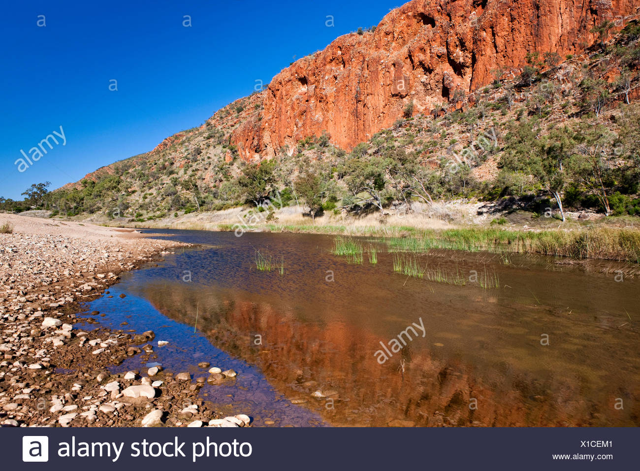 Glen Helen Gorge in West MacDonnell National Park, Northern Territory, Australia - Stock Image