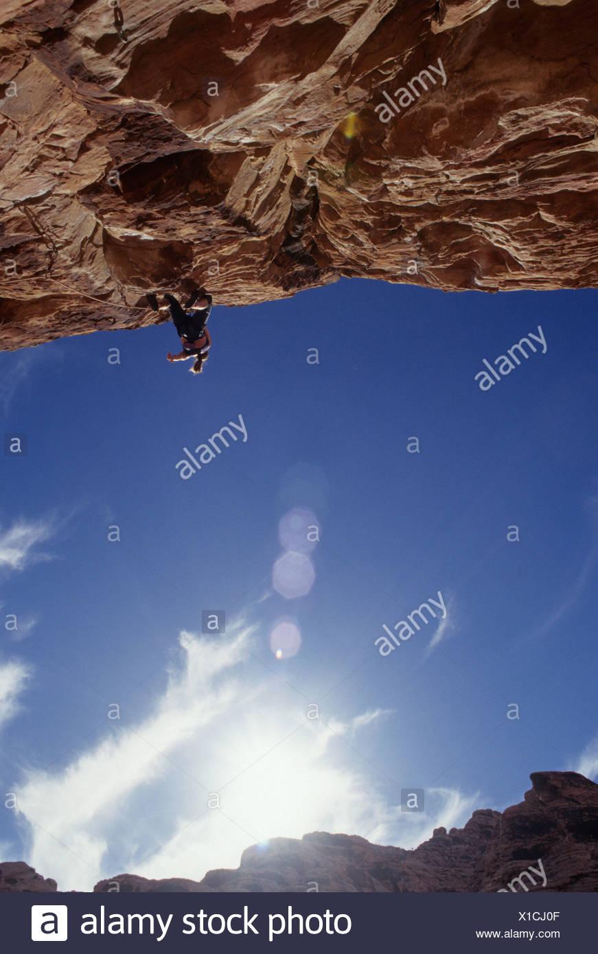 Rock climber. Red Rocks, Las Vegas, Nevada, USA. - Stock Image