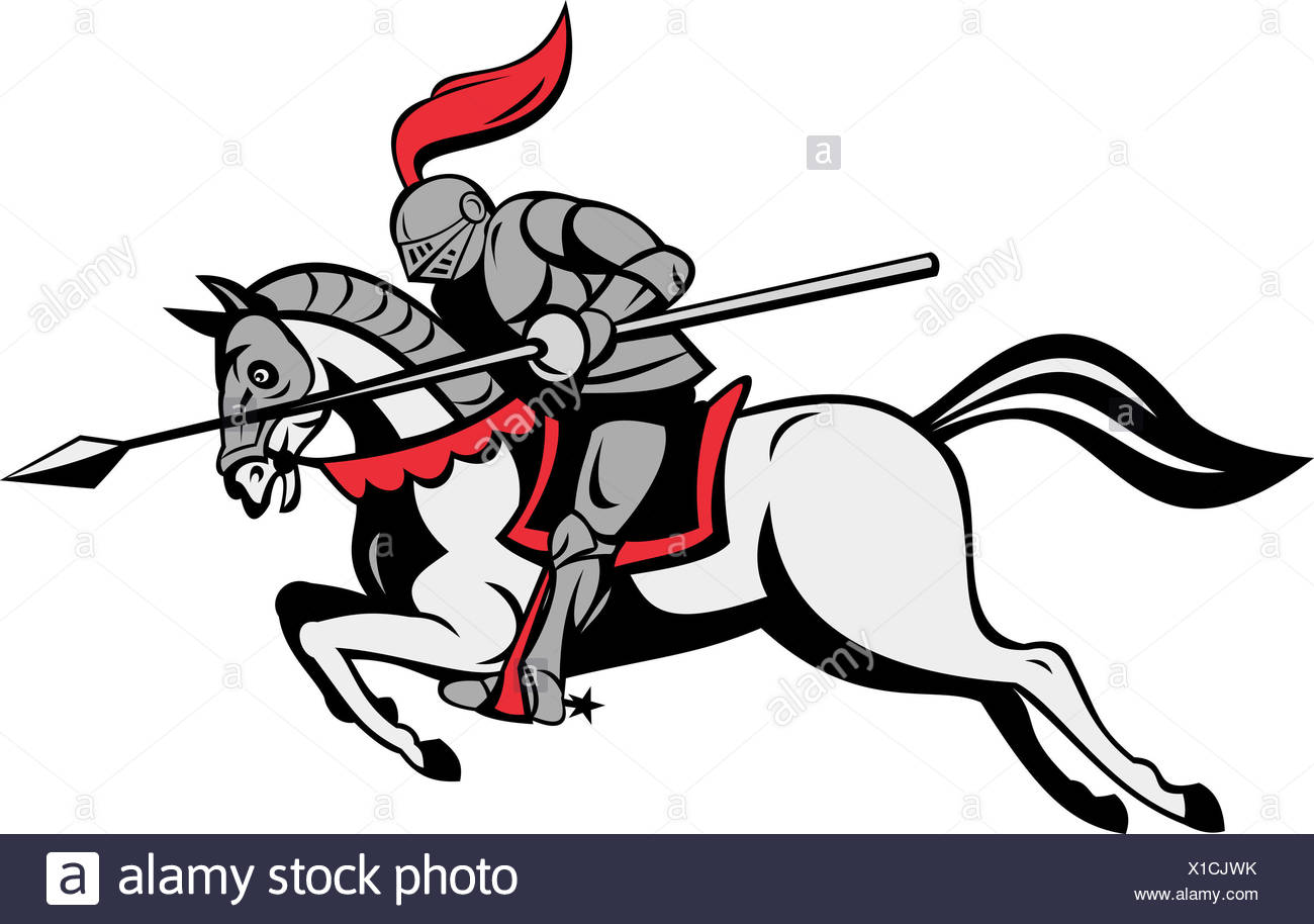 Horse Riding Rider Equestrian Medieval Lance Knight Horse Illustration Riding Stock Photo Alamy