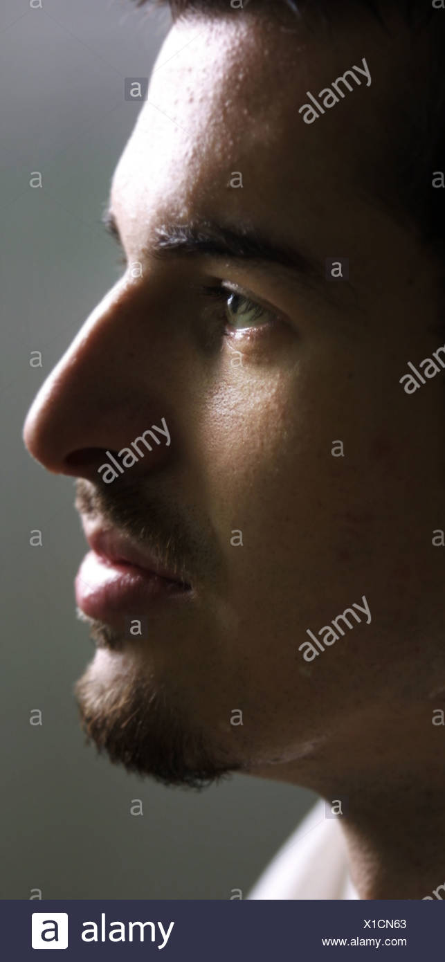 Side face of man - Stock Image