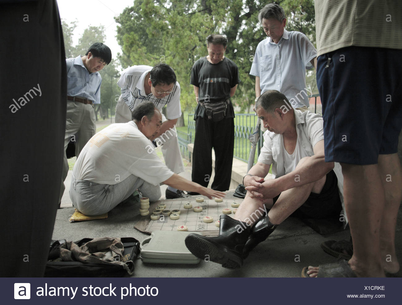 Chess at Temple of Heaven Park Beijing China - Stock Image