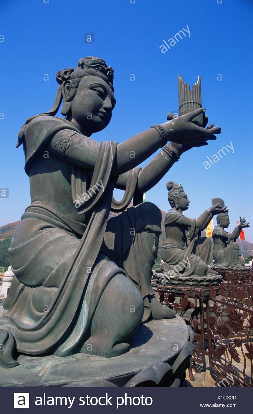Hong Kong Lantau Po Lin Monastery Buddhism Buddhist Religion Religious Statues Culture - Stock Image