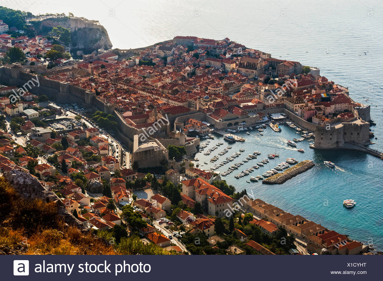 View of port and rooftops; Dubrovnik, Croatia - Stock Image