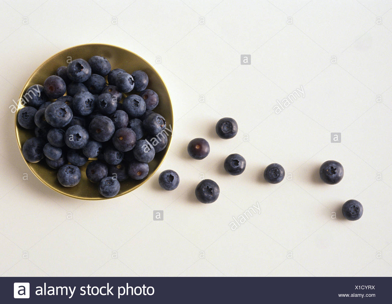 Bowl of blueberries against white background, high angle view - Stock Image