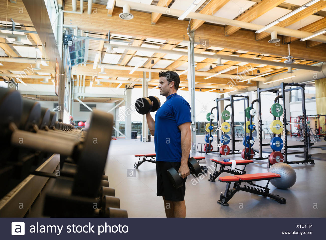 Man doing dumbbell biceps curls at gym - Stock Image