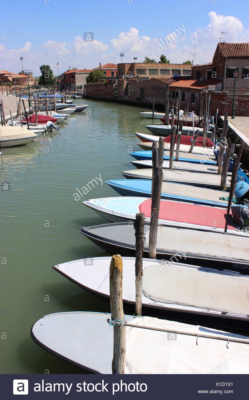 Boat parking on Murano Stock Photo