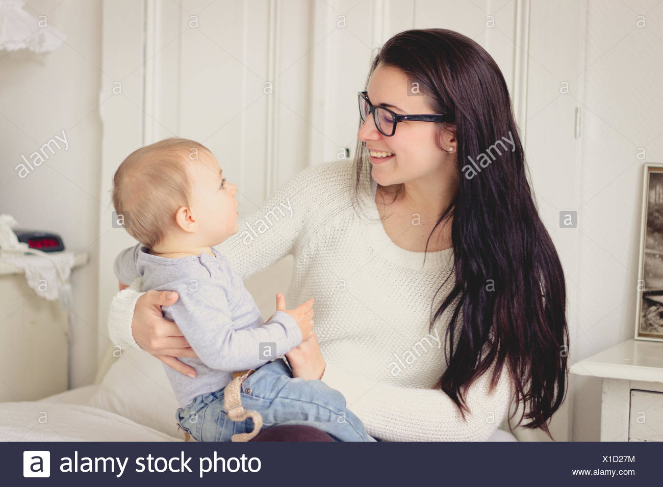 Netherlands, Mother and her baby boy - Stock Image