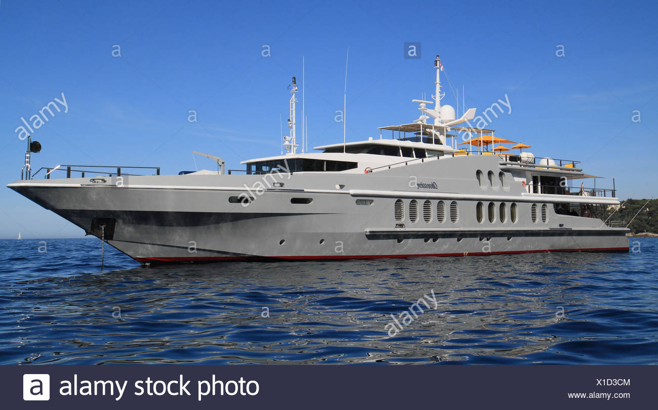 Motor yacht, Obsession, built by Oceanfast, length 55 metres, built in 1991, anchored off Monaco, Cote d'Azur, Mediterranean - Stock Image