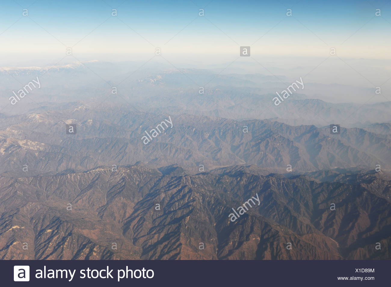 Aerial view of undeveloped land over Gansu, China - Stock Image