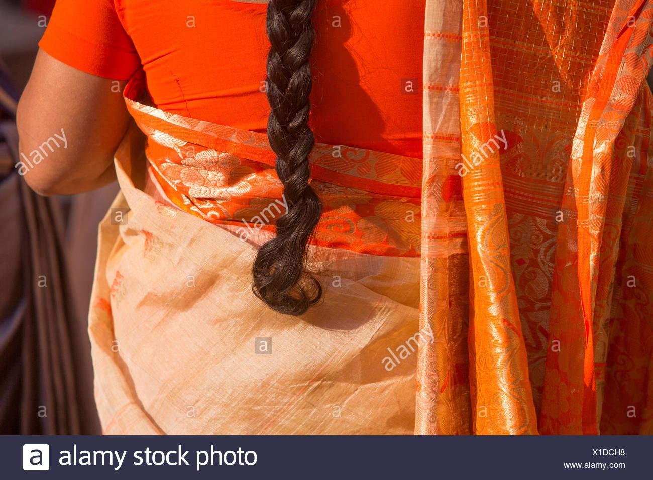 Indian, woman, women, India, sari, hair, detail, red, Asia, Rajasthan, - Stock Image