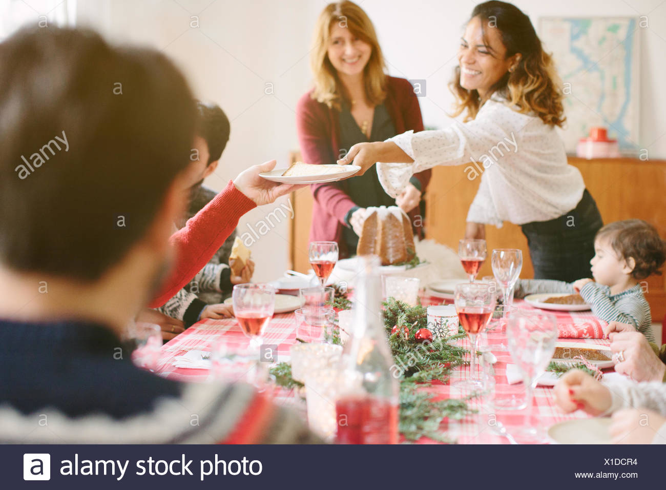 Family Christmas party - Stock Image