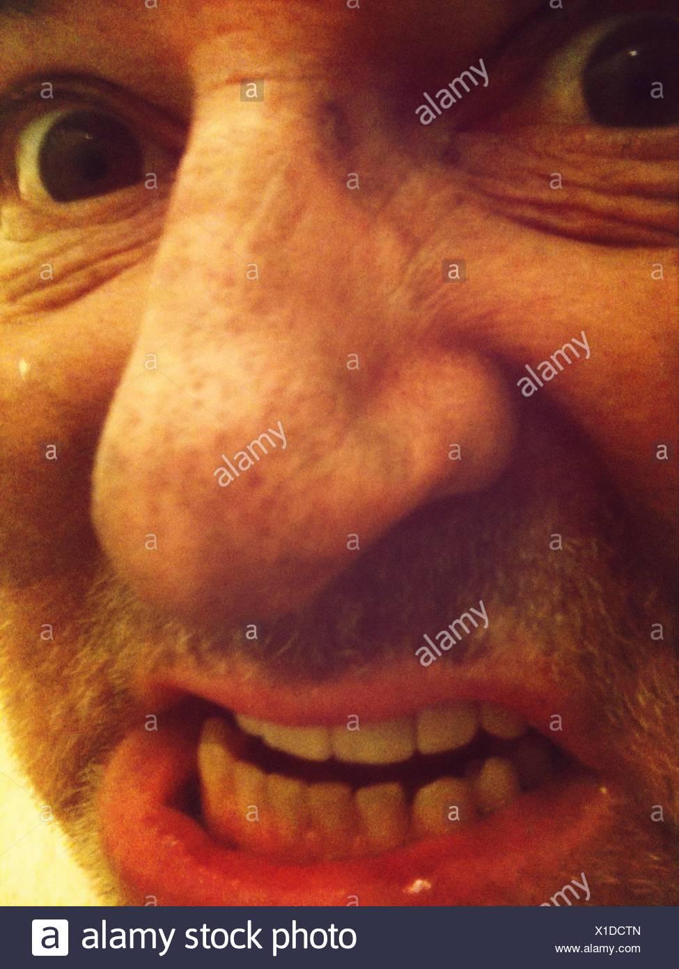 Close-Up Of Furious Man - Stock Image