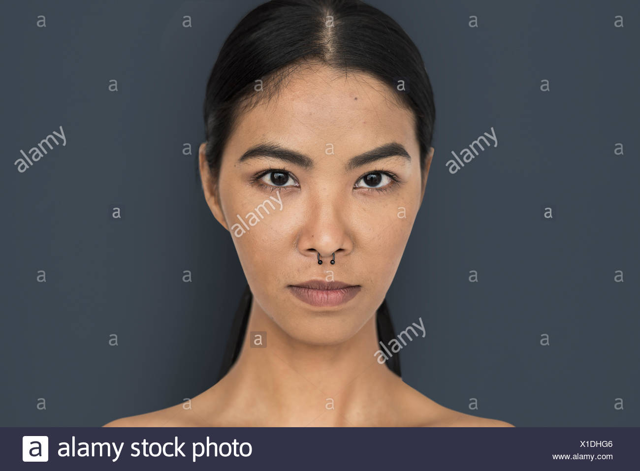 Woman Pierced Nose Ring Confidence Self Esteem Portrait Stock Photo