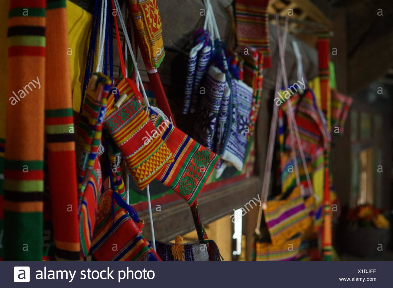 View of multi colored textiles - Stock Image