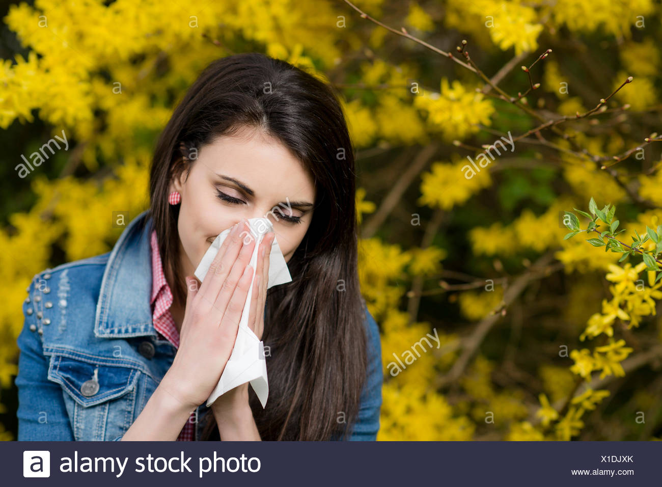 young woman with Allergic rhinitis - Stock Image