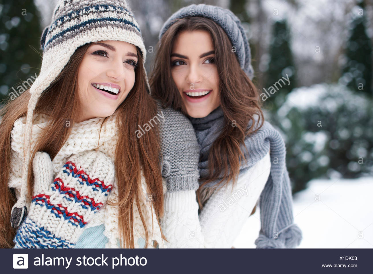 Portrait of lovely girls wearing warm clothes. Debica, Poland - Stock Image