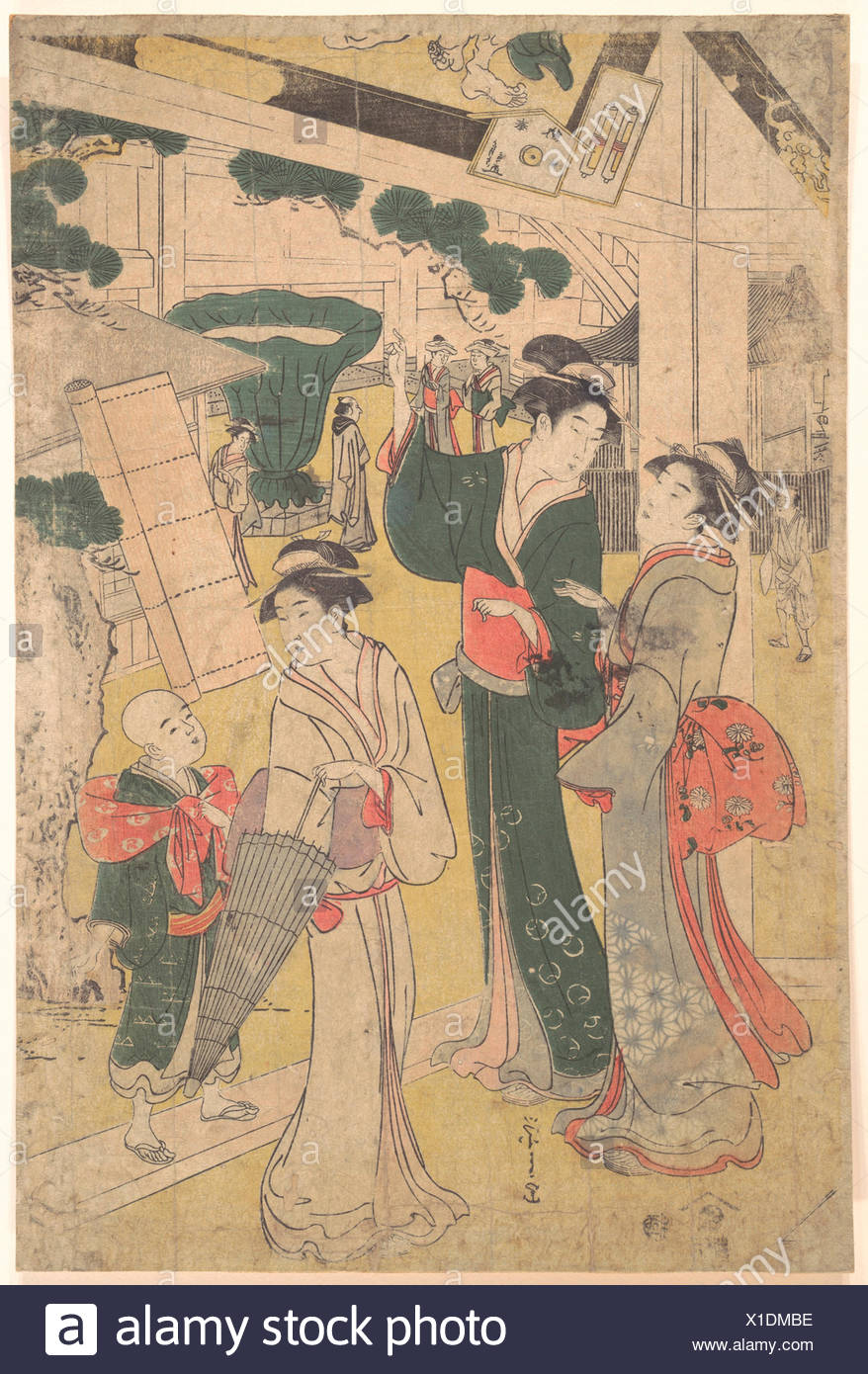 Print. Artist: Chobunsai Eishi (Japanese, 1756-1829); Period: Edo period (1615-1868); Culture: Japan; Medium: Polychrome woodblock print; ink and - Stock Image