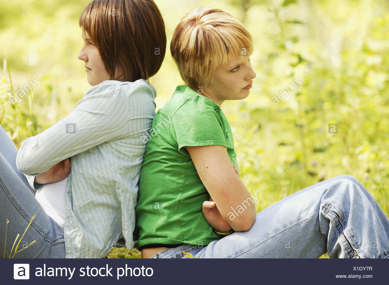 Two girls having a disagreement - Stock Image