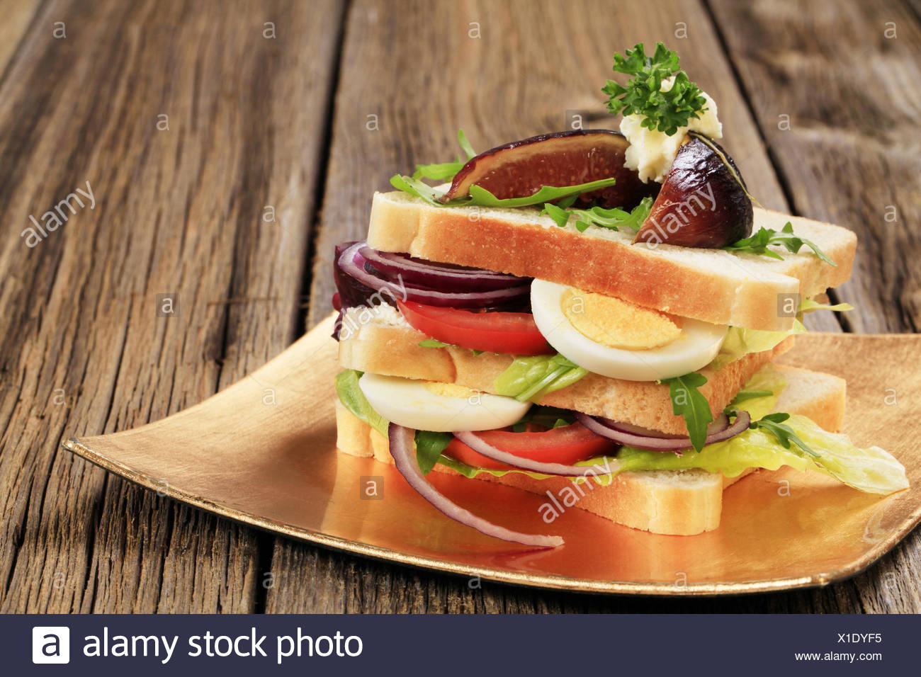 Tasty sandwich rich in vitamins - Stock Image