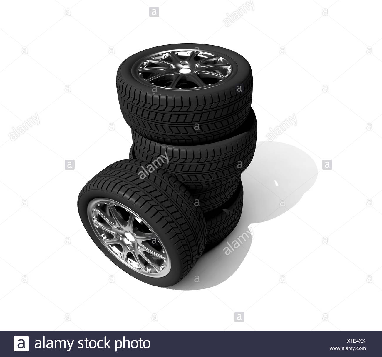 wheels with steel rims over the white background - Stock Image