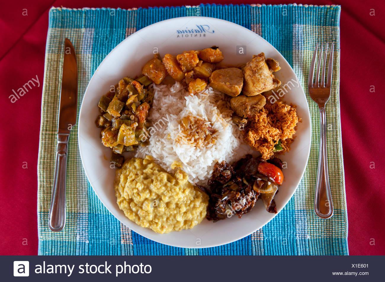 Sri lankan food stock photos sri lankan food stock images alamy singhala sinhala or sinhalese curry served with rice bentota sri lanka forumfinder Choice Image