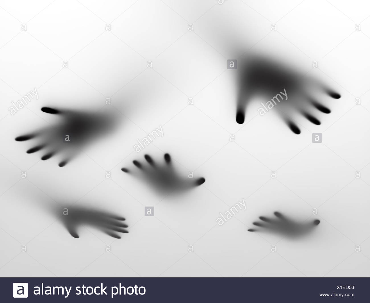 Abstract hands behind a frosted glass surface - Stock Image