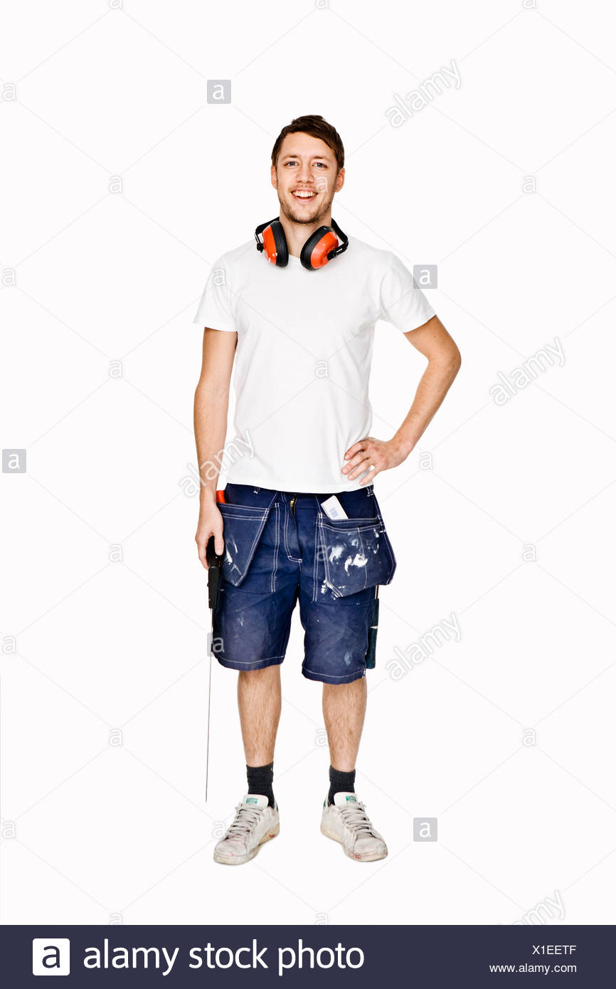 Portrait of a man with  hearing protector Sweden. - Stock Image