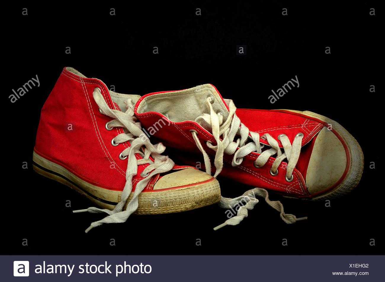 Worn red Chucks, sneakers Stock Photo