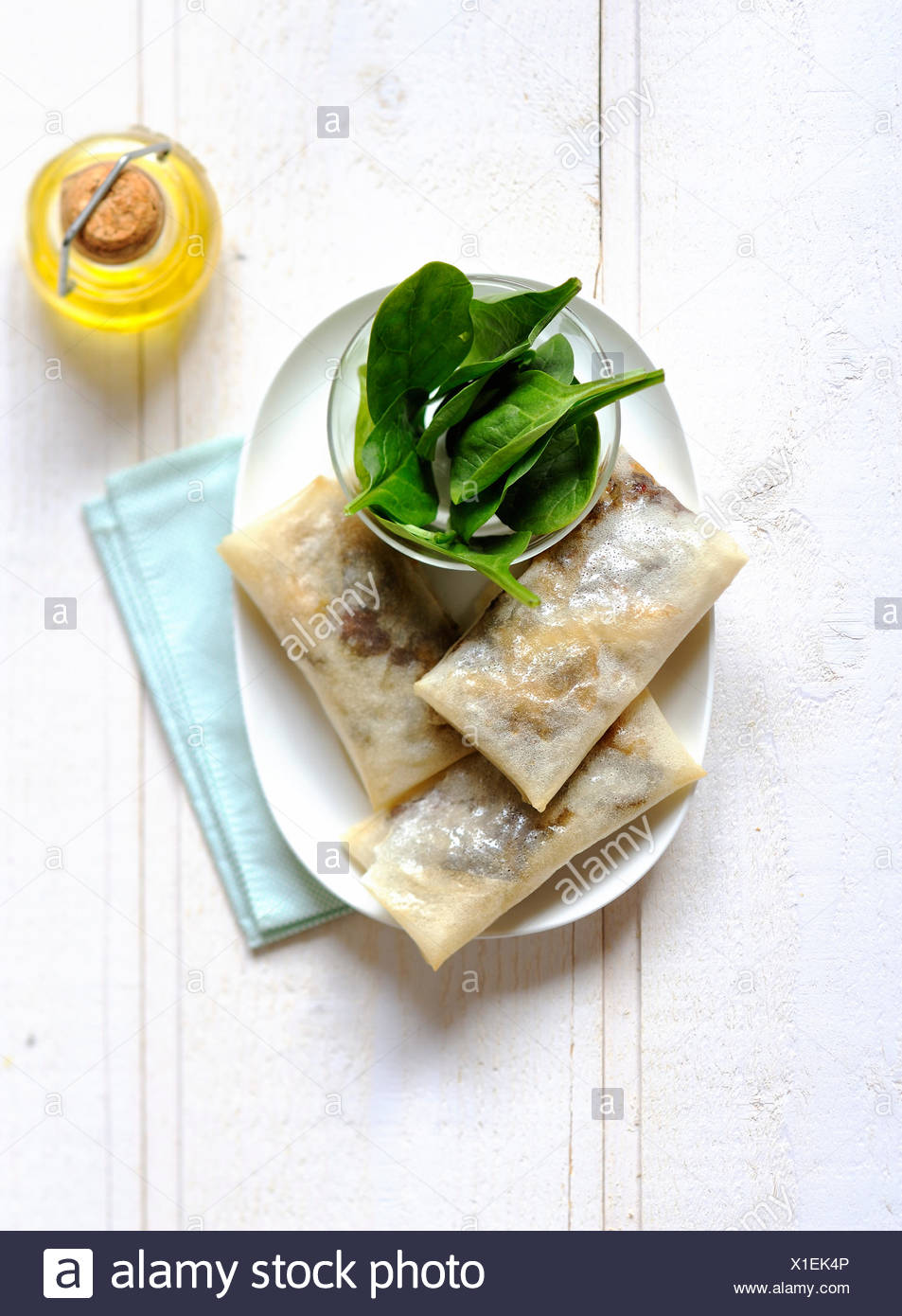 Blood sausage and apple filo pastry rolls - Stock Image