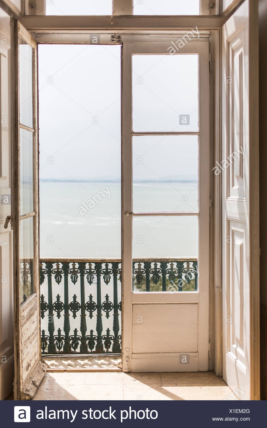 Sliding door open. - Stock Image