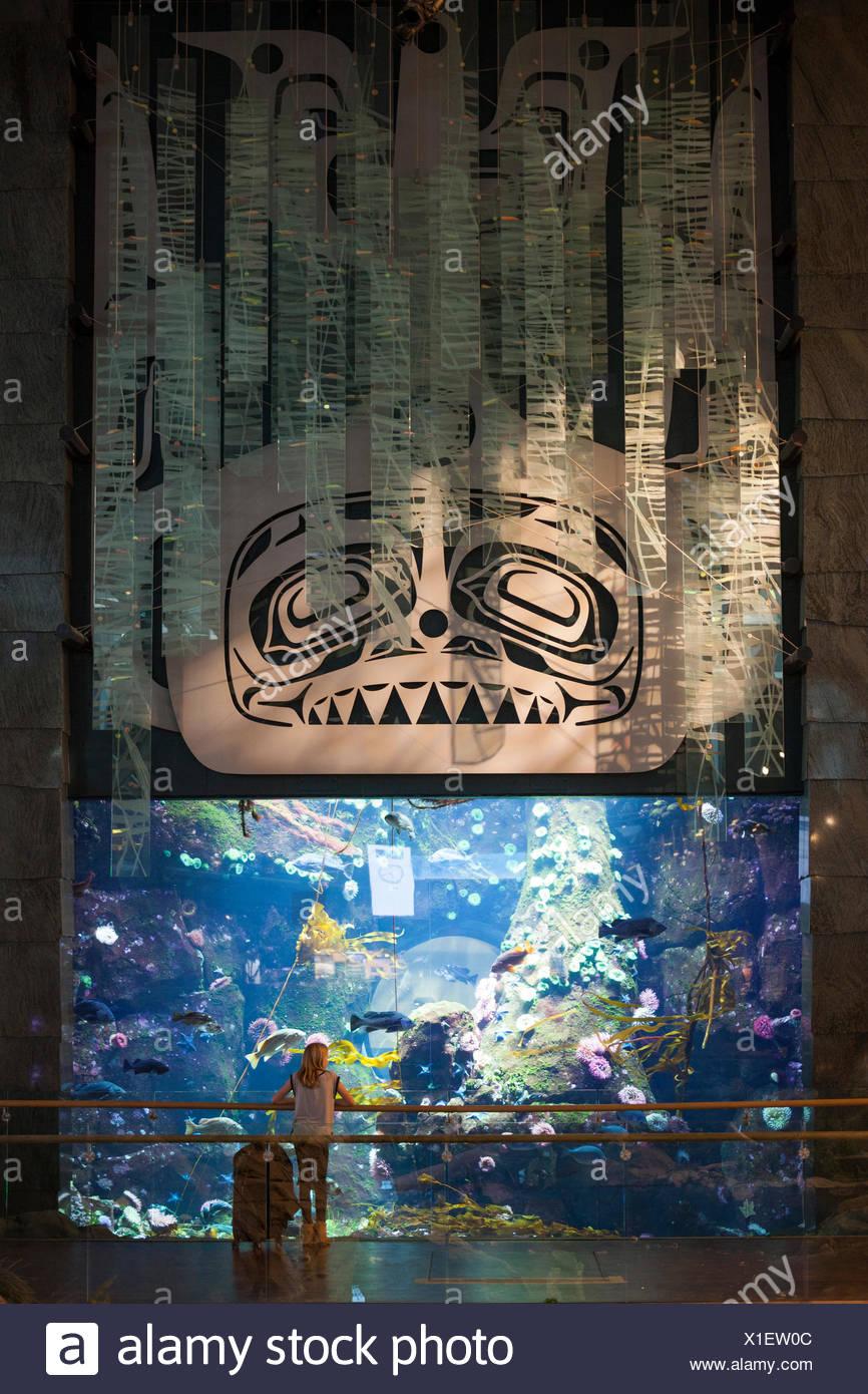 Traveler admires aquarium exhibit in Vancouver International Airport,Canada - Stock Image