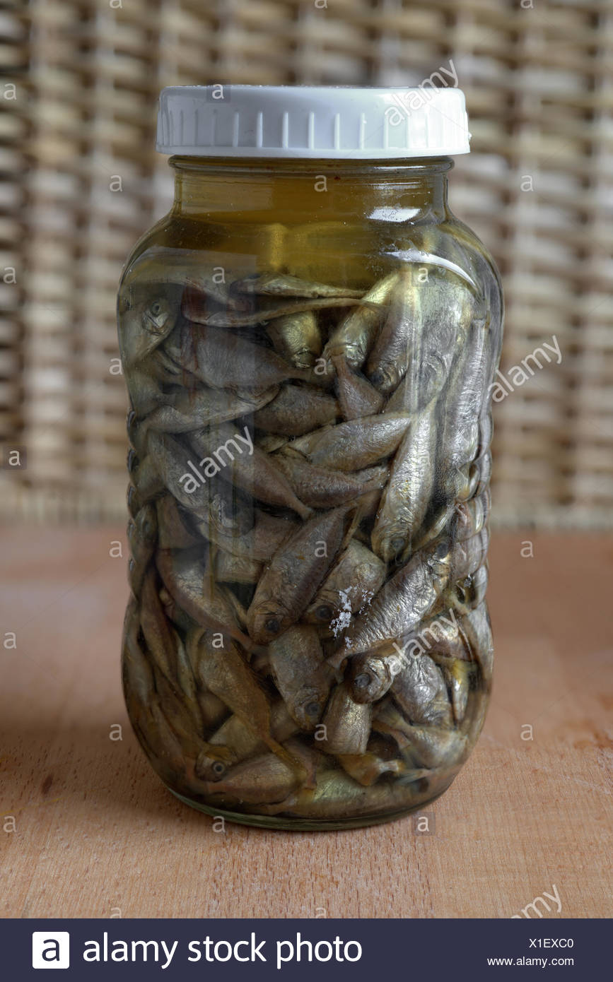 Preserved Fish in Glass Container, China - Stock Image